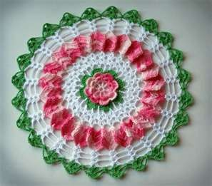 Crochet doily. My mother made one of these for me, but it is oval, not round. Absolutely exquisite.