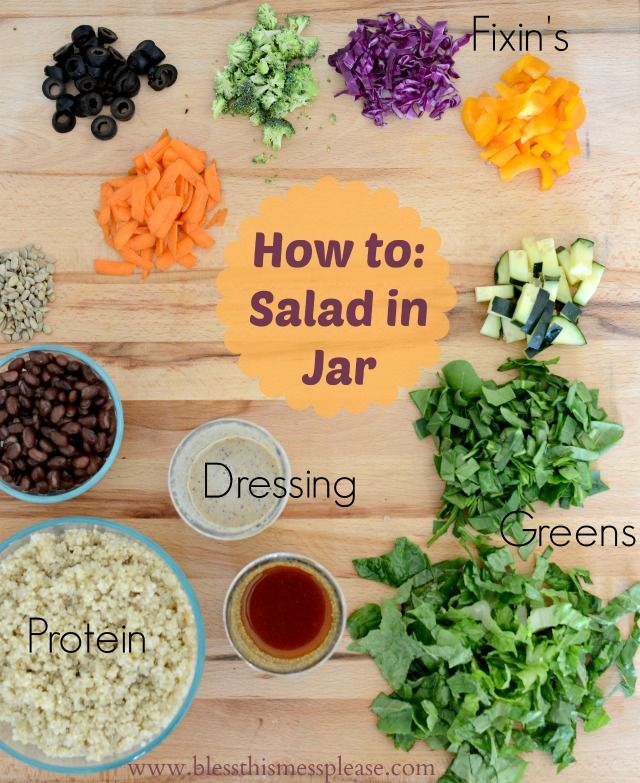 Salad in A Jar tutorial- because there are a few things you should and shouldn't do. I made 6 on Monday and have eaten a salad every day for lunch. SUCH a good idea!