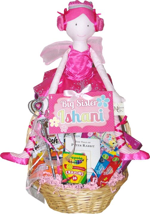 40 best baby gift baskets toronto images on pinterest baby gift custom personalized fairy princess gift basket for a new big sister toronto negle Gallery