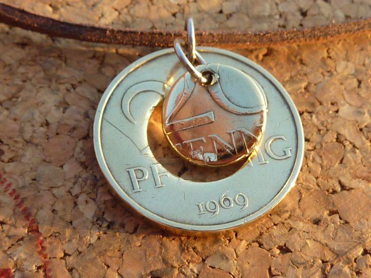 Medaillons - Halskette,Leder,mit Original 20 Pf. (DDR)Anhänger, - ein Designerstück von schmuck-checker bei DaWanda