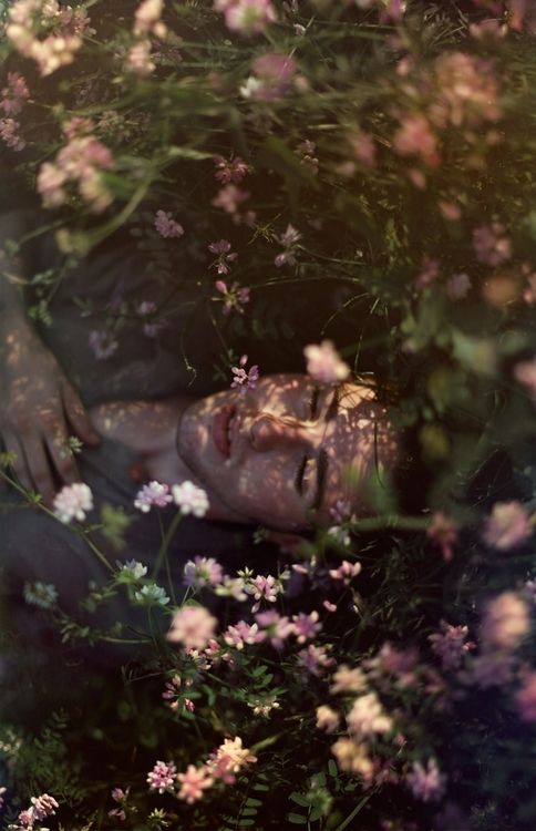 Asleep on a bed of flowers, awaiting your kiss. ~ETS #fairytales #flowers