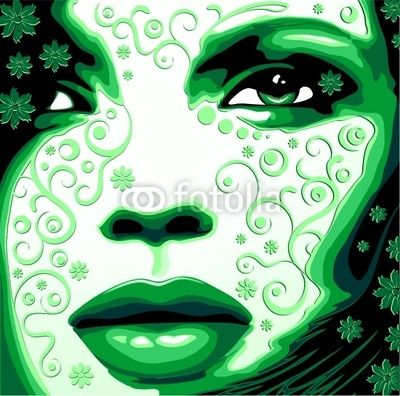 #Woman's #Face #Green #Nature-Vector © bluedarkat