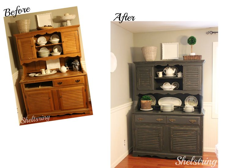 Beautiful painted hutch!! http://www.shelstring.com/2016/06/furniture-refresh-challenge-painted.html