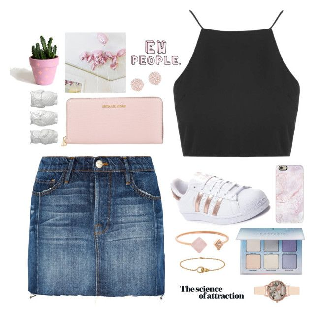 """{Tara}"" by mrs-nick-robinson ❤ liked on Polyvore featuring Frame, Topshop, adidas, MICHAEL Michael Kors, Michael Kors, Swarovski, Casetify, Cartier, Anastasia Beverly Hills and Olivia Burton"
