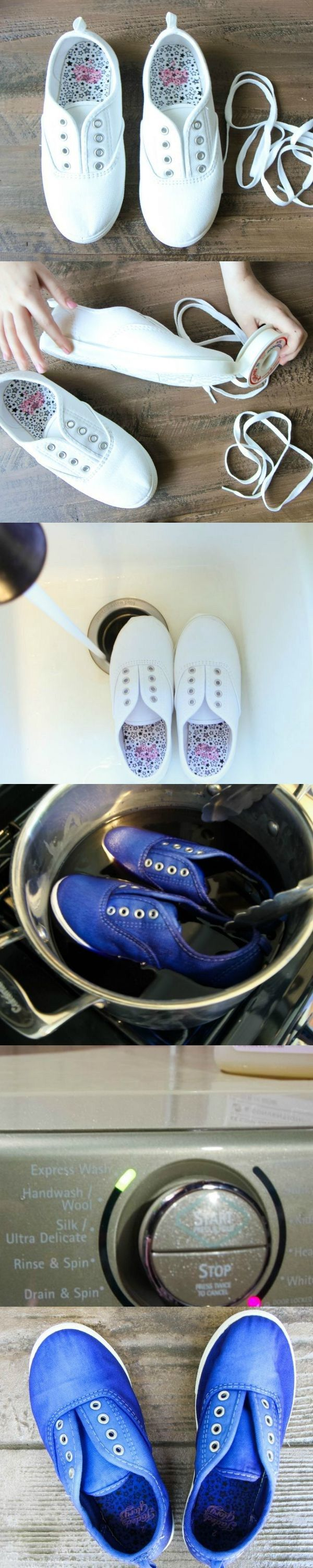 How to DIY Dye Canvas Shoes with Rit Dye from MomAdvice.com