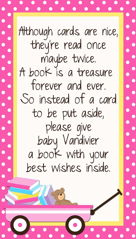 Custom Insert Card Bring A Book Instead Of A Card By DigitalParty | Baby  Shower   Girl | Pinterest | Books, Babies And Babyshower