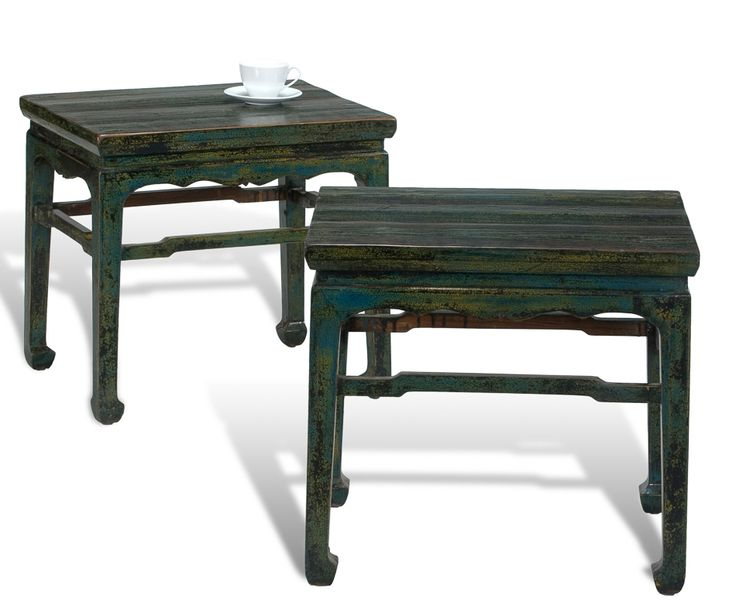 Eastern side tables crackled blue 5 chatmoss accent for Table 0 5 ans portneuf