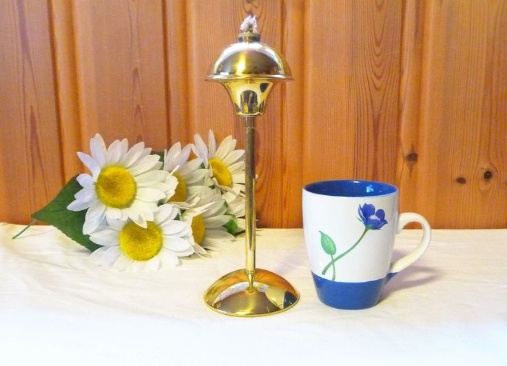 Vintage Solid Brass Tall Oil Lamp, Denmark Brass Oil Lamp, Danish Oil Lamp, Scandinavian Design by Grandchildattic on Etsy