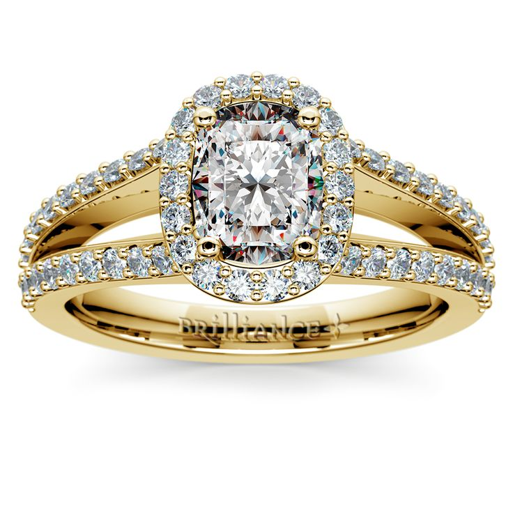 The Halo Split Shank Cushion Diamond Ring in Yellow Gold is a glorious Brilliance offering, boasting Hollywood good looks and unforgettable diamond shimmer!    http://www.brilliance.com/engagement-rings/halo-split-shank-diamond-ring-yellow-gold    Ladies, would you be able to say no to this ring? ;)