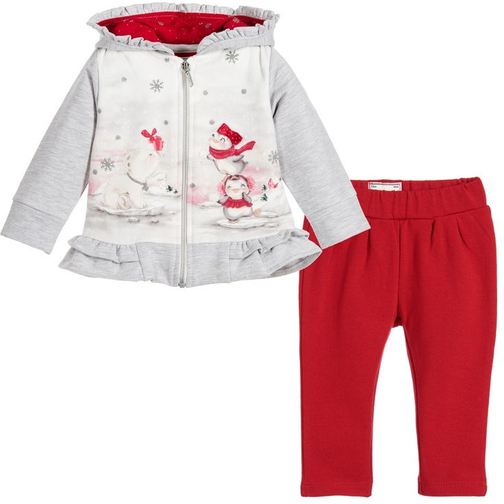 Mayoral - Baby Girls Red & Grey 2 Piece Trouser Set | Childrensalon