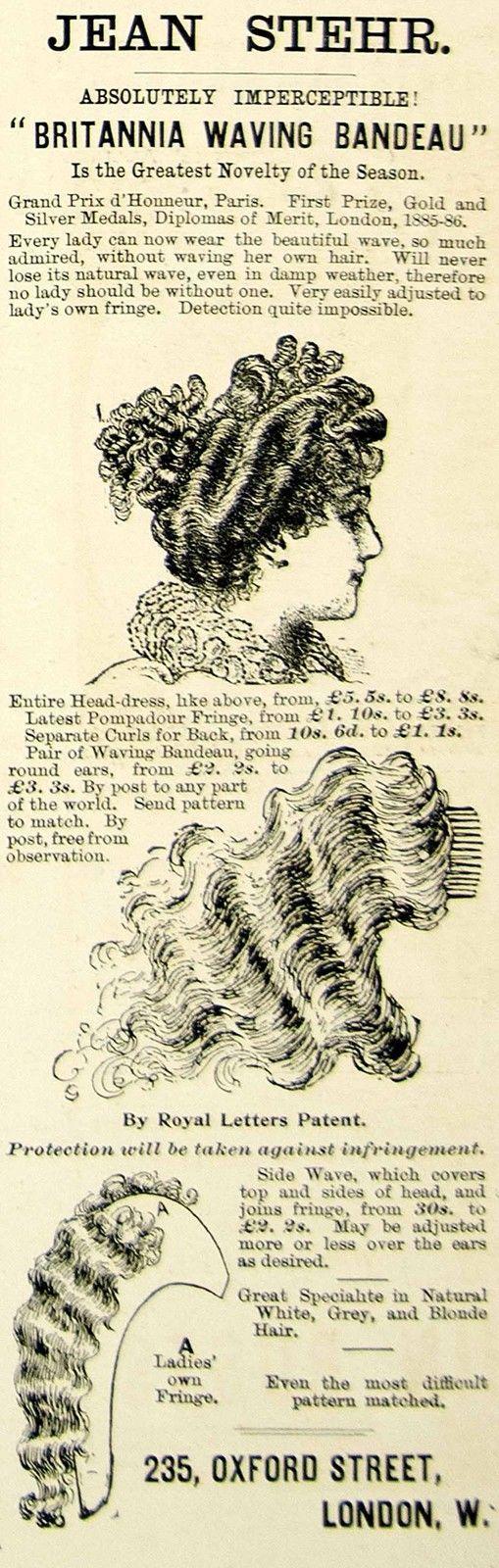 1895 Ad Antique Victorian Fashion Hair Wigs Fringe Jean Stehr Hairdresser London | eBay