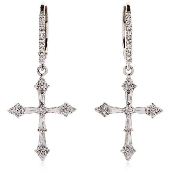 Stone Paris Women Heaven Diamond Cross Earrings (71.650.170 IDR) ❤ liked on Polyvore featuring jewelry, earrings, white gold, diamond jewellery, crucifix jewelry, diamond jewelry, earring jewelry and diamond cross jewelry