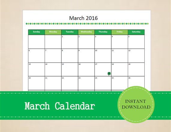 Printable March 2016 Calendar  Seasonal by MBucherConsulting