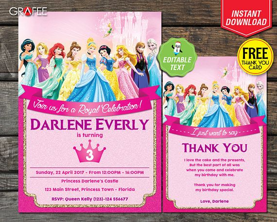 Hey, I found this really awesome Etsy listing at https://www.etsy.com/uk/listing/527792603/disney-princess-birthday-invitation-card