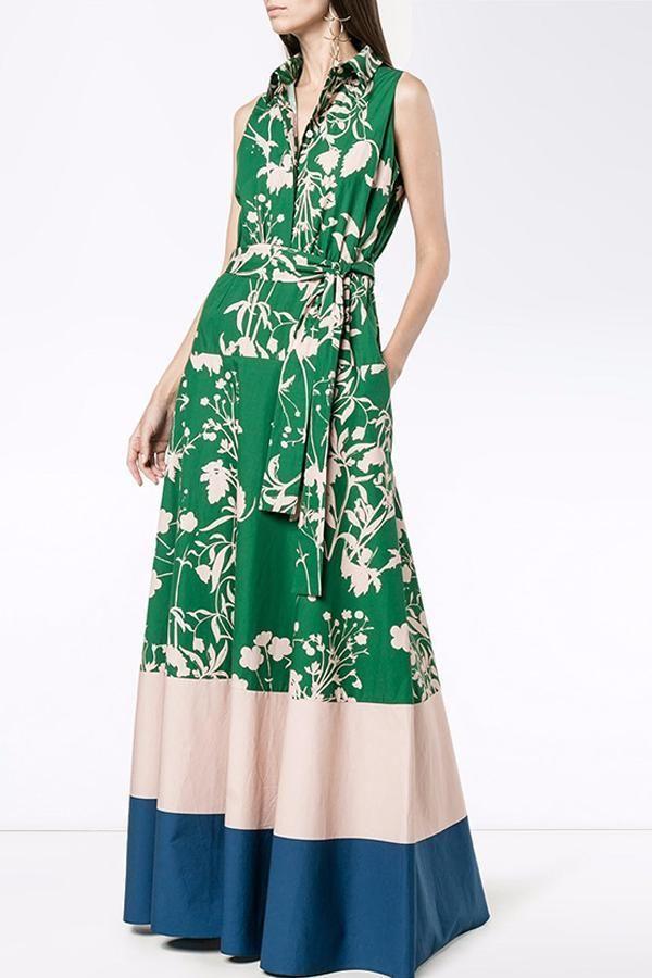 2303b20cc1b Green Vintage Floral Printed V-Neck Sleeveless Fashion Maxi Dress blue s