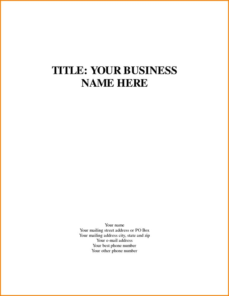 Cover Page Business Proposal Plan Template Letter Sample Letters