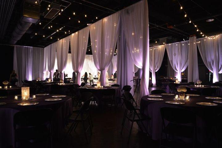 Elegant Drapery At Indoor Ceremony: Nashville, TN Elegant Ceremony, Reception