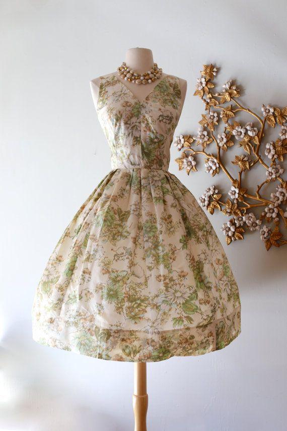 Vintage 1950s Watercolor Silk Floral Party Dress ~ Vintage 50s Larry Aldrich Floral Print Cocktail Party Dress by xtabayvintage
