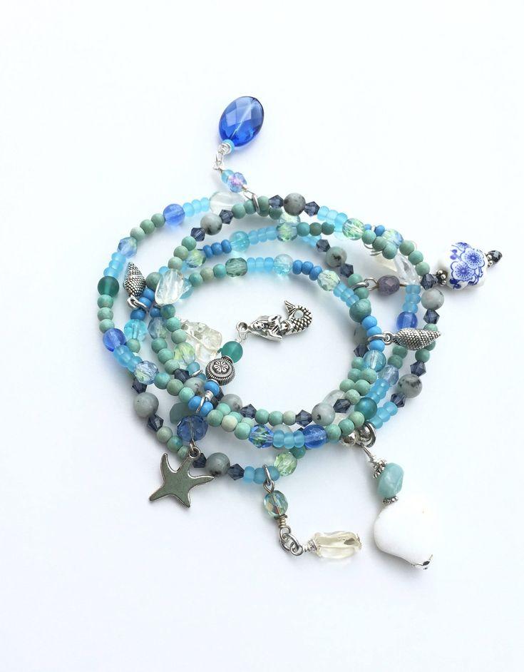 Blue Beach Jewelry, Wrap Bracelet or Long Necklace, Mermaid Jewelry, Stretchy Je…Mermaids Beach Jewelry