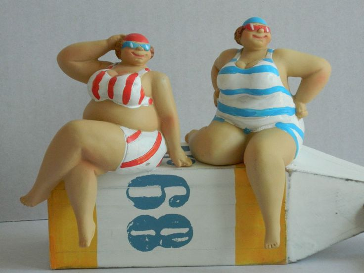 SEASIDE FAT LADY IN COSTUME SHELF SITTER NEW DESIGN BATHROOM ORNAMENT