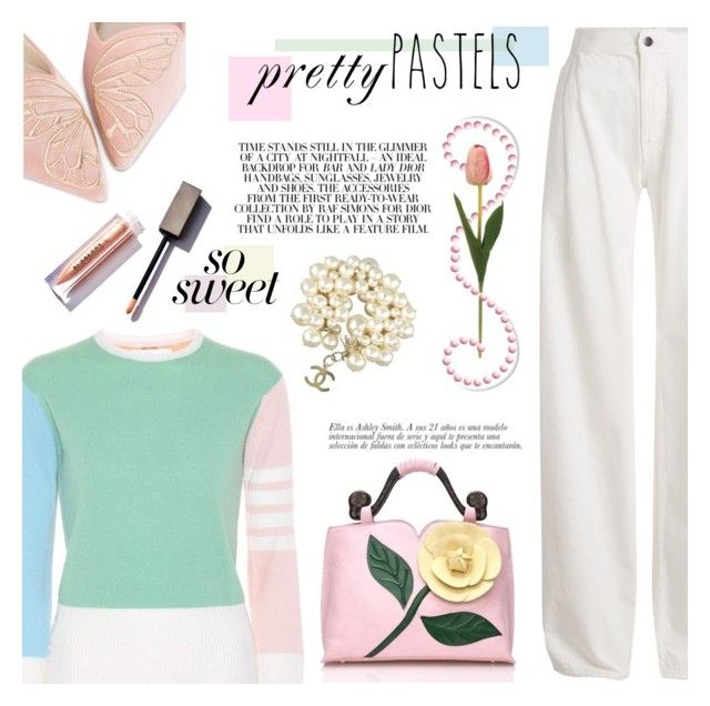 """""""So Sweet: Pastel Sweaters"""" by dixiebelle81 on Polyvore featuring Thom Browne, Maison Margiela, Sophia Webster and Chanel"""