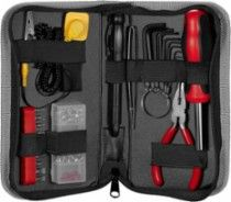 Insignia PC Tool Kit: Everything you need to build or fix a computer; includes 10-bit screwdriver set, LED flashlight with precision screwdriver, needle-nose pliers, 9-piece hex/Allen key set and more; antistatic wrist strap; zippered carrying case