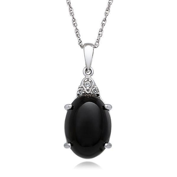 Fine Jewelry Genuine Black Onyx & Lab Created White Sapphire Sterling Silver Pendant 1HFL7d