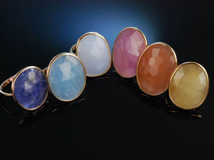 Colorful Italian Style! Wundervolle Ringe aus Gold 750 mit Tansanit, Aquamarin, Chalzedon, Pink Saphir, Mondstein und Yellow Saphir in Schachbrettschliff, bunte Edelsteine, feiner Edelstein Schmuck bei Die Halsbandaffaire