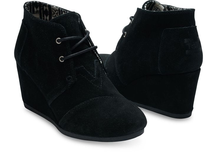 "The simplest way to add a dash of chic to your everyday look. Black suede upper Suede wedge Laces with metal tips Antimicrobial sock liner Heel height: approximately 2 ¾"" With every pair of shoes you"
