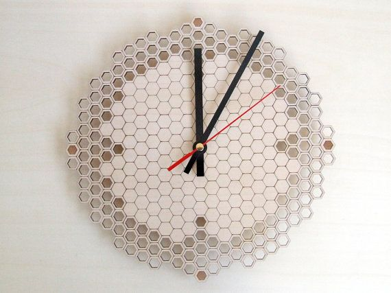 Honeycomb clock Regular - wooden wall clock - modern lasercut clock - beehive - hexagonal geometric clock