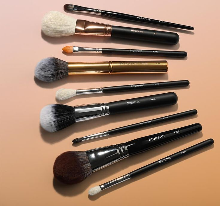 """Description Video Exclusively at Morphe! LIMITED-EDITION These aren't your basic brushes, bish. Selected by fearless Morphe Babe Bretman Rock, this glam-grabbing lineup of 9 natural and synthetic brushes covers every step of your makeup routine—from liquid foundation, to bold eye looks, to the final pop of highlighter. BRETMAN SAYS... 9 brushes. 9 ways to rock your world. Get Bretman's take on each of his baddest brushes. M510–(natural hair) """"A bomb universal highlighter brush. Need I ..."""