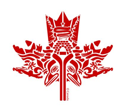 First Nations Canadian maple leaf art