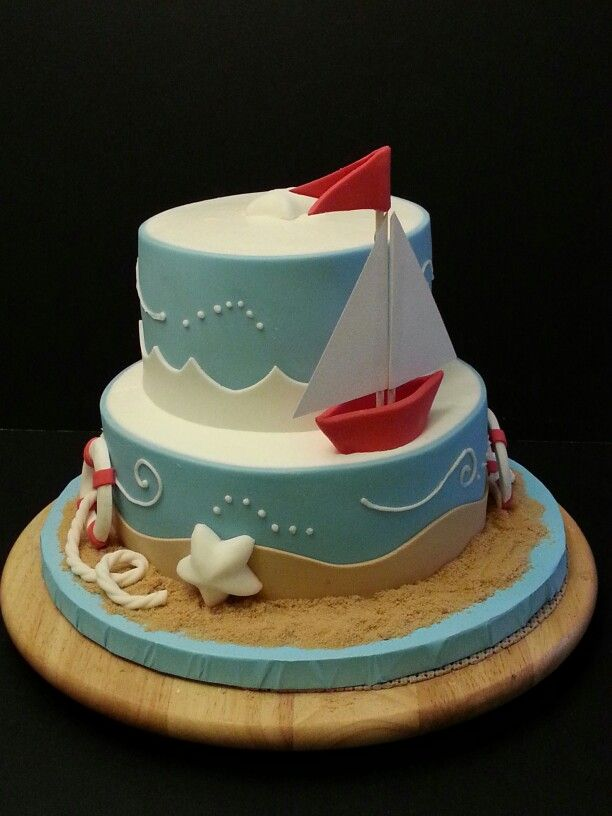 Sailboat Baby Shower cake