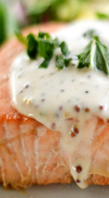 Salmon with Creole Mustard Sauce      4 tbsp unsalted butter, melted     3 tbsp light brown sugar     3 tbsp soy sauce     2 tbsp fresh lemon juice     2 tbsp white wine     1 (2 lb) salmon fillet, cut into 4 portions  Creole Mustard Sauce 1 cup whipping cream (or half and half) ¼ cup stone-ground or whole-grain mustard 1 tsp Dijon mustard 4 tsp Worcestershire sauce ½ tsp dried basil ¼ tsp ground black pepper ¼ tsp white pepper ¼ tsp cayenne pepper 1 cup sour cream