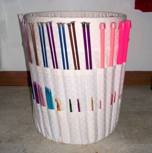 Knitting Bucket Organizer.  Genius.