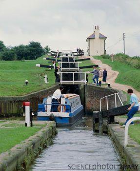 Interesting! (mkc)--Canal boat going up Foxton Locks, Leics from Linda Linebaugh.