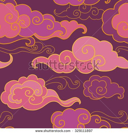 Traditional oriental ornament in purple tones. Clouds on the sky. Vector seamless pattern - stock vector