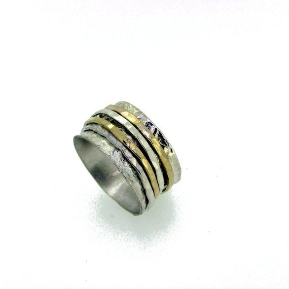 Circle Ring 925 Sterling Silver Ring Gold And Silver Jewelry Love Gift Boho Jewelry For Women Meditation Rings Statement Spinner Ring