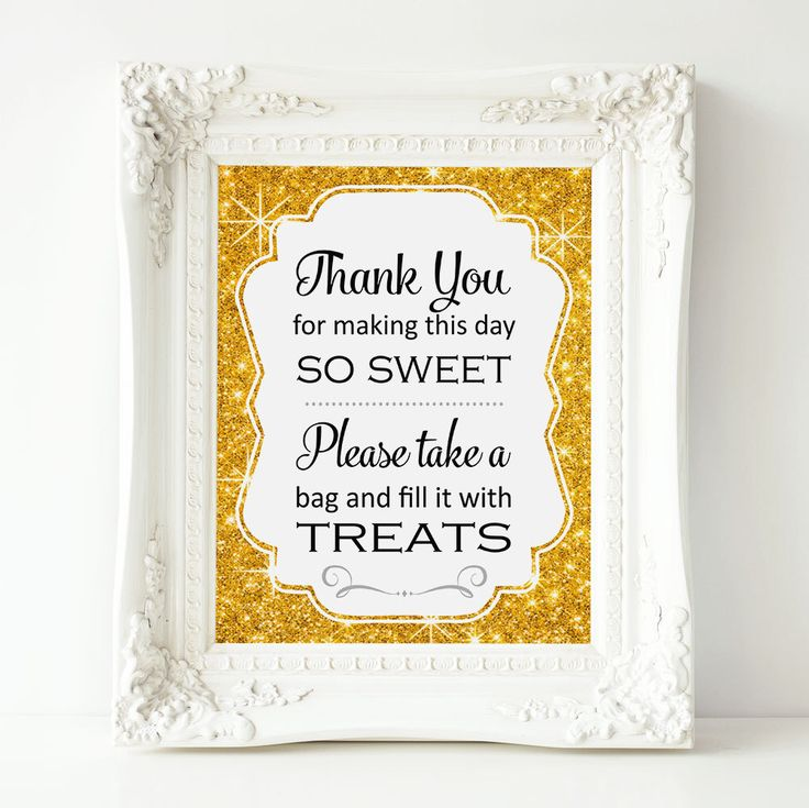 Gold Sparkle Candy Buffet Sign