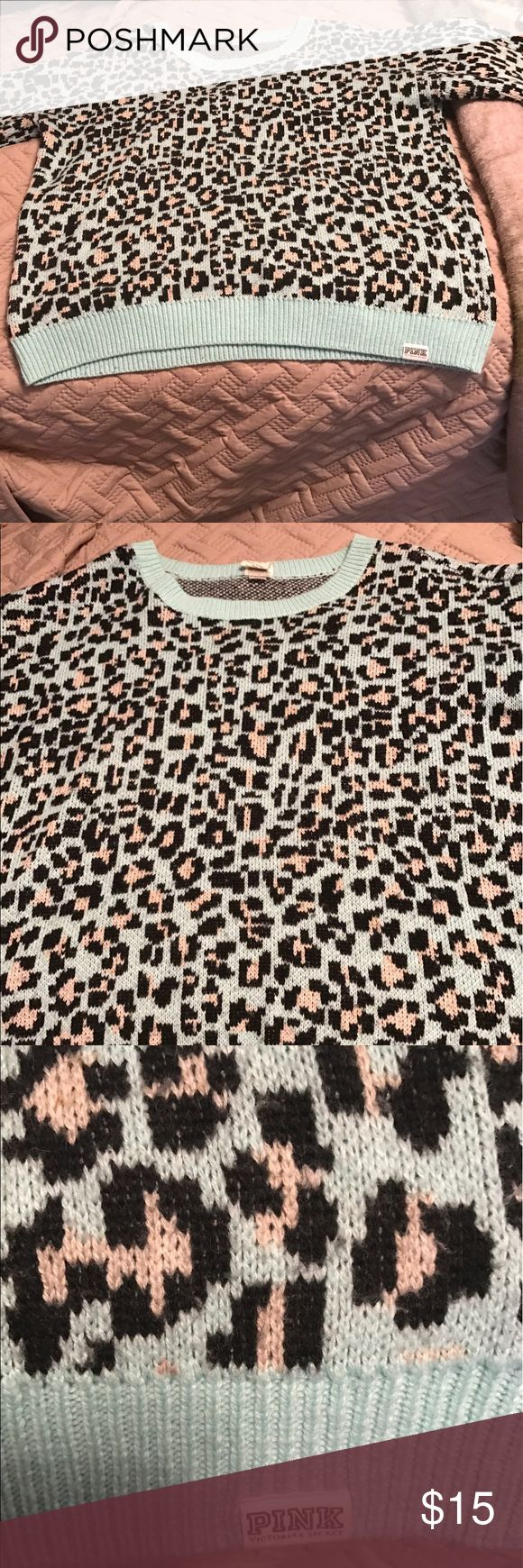 Victoria Secret PINK leopard sweater Preowned Reposh too big for me. Size large. Victoria Secret PINK Leopard sweater. So cute for the winter. PINK Victoria's Secret Sweaters Crew & Scoop Necks