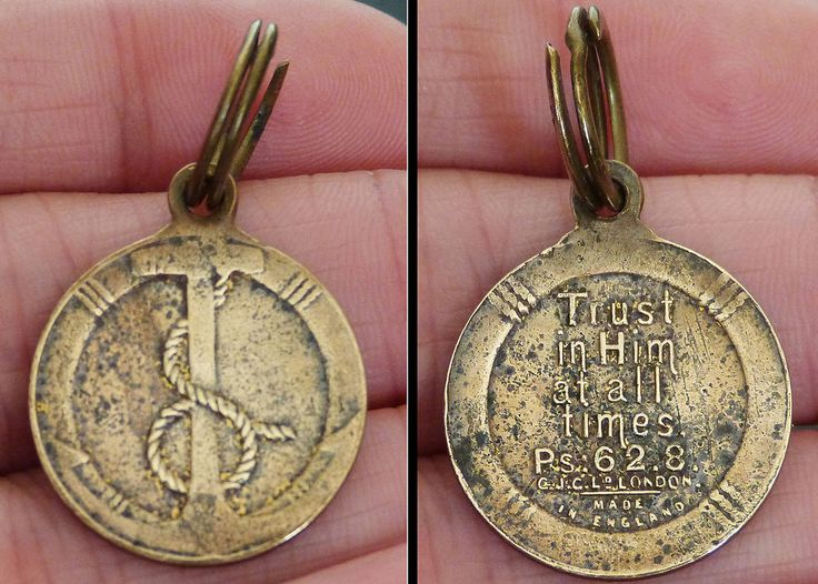 Vintage MILITARY Brass NAVAL Medal FOB Psalm 62.8 TRUST IN HIM AT ALL TIMES Navy