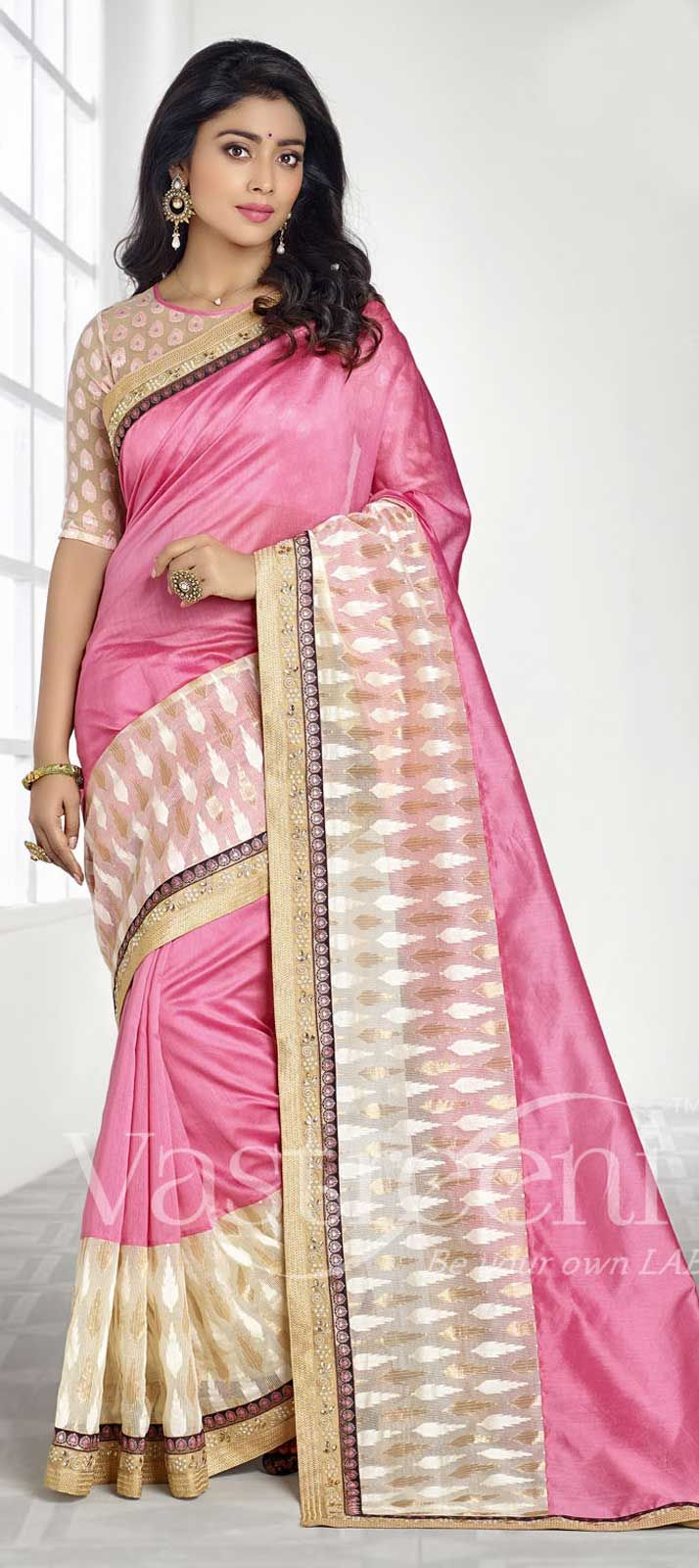 Pink and Majenta color family Bollywood sarees .
