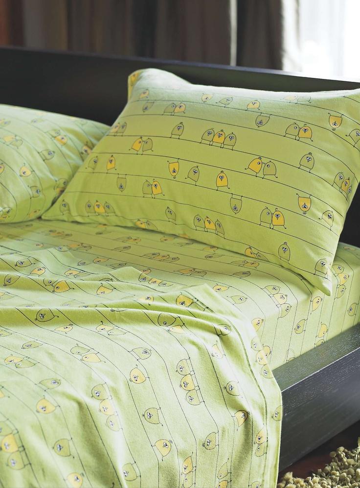 ¨Little birds on a wire¨ brushed cotton sheet - Sheets & Pillowcases   Simons $38