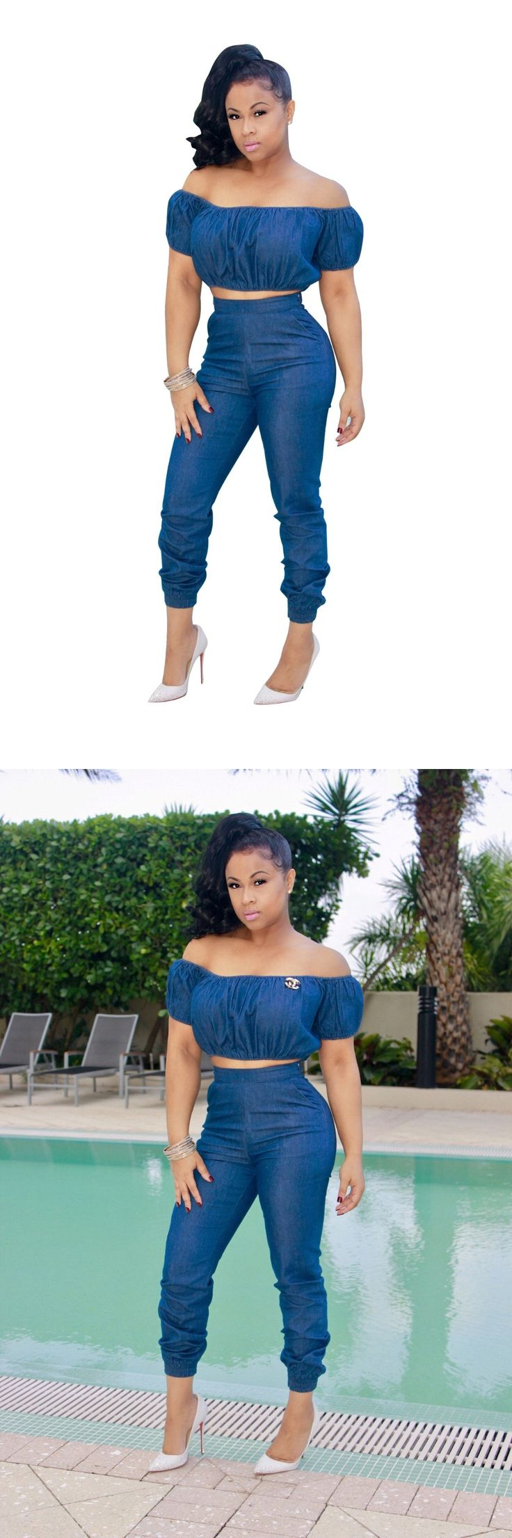 Casual Women Strapless Long Denim Jumpsuit Sexy Short Sleeve Crop Top 2 Piece Set Jeans Coveralls Full Length Pant Pocket Romper