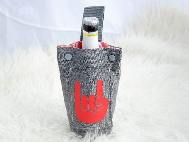 Flaschentäschchen für die Sommersaison und als Geschenk für Ihn / bottle holder, gift for men by Frl-Paeng via DaWanda.com