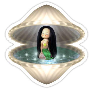 Mermaid in Shell Sticker by StickerNuts