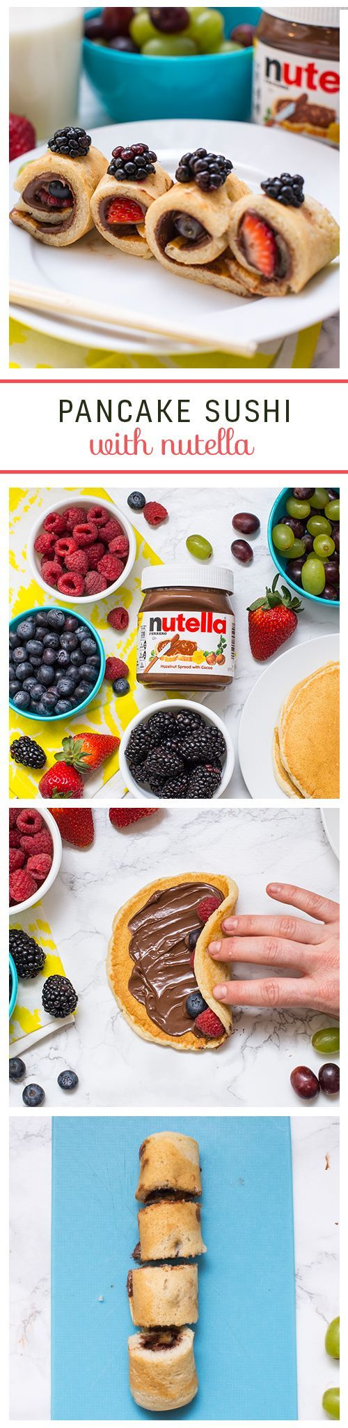 Roll up to breakfast in style with pancake and Nutella® sushi. Start by spreading Nutella on the pancake, then place a row of fruit on either end. Finish by rolling it up, slicing, and serving to the family. It's sure to make them very happy.