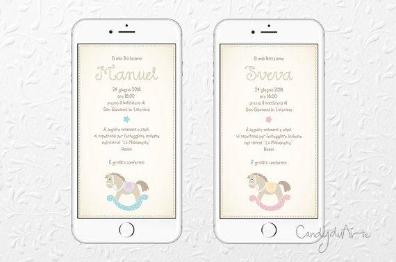 Invito Digitale per cellulare Battesimo Bambino e di CandyduArte