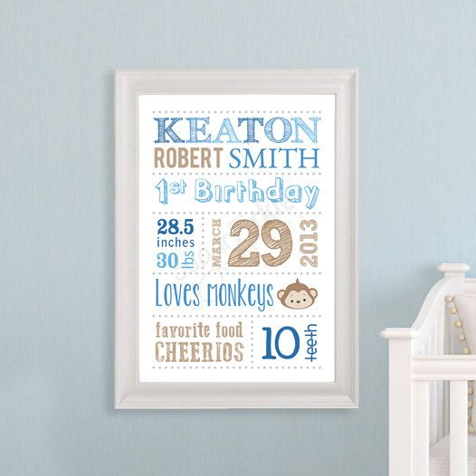 Personalized Nursery Decor Wall Art Birth Announcement - Baby Shower Gift - Keepsake - Subway Art Template - Subway Art, Birth Details via Etsy
