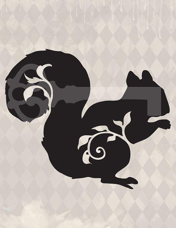 filigree squirrel original illustration digital by TanglesGraphics